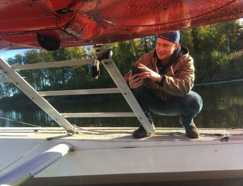 Honors student works on Elodea floatplane project with ISER's Schwoerer and Engineering's Witmer