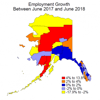 Employment Growth Between June 2017 and June 2018 in Alaska