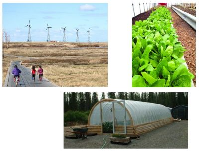 composite image of wind power, small greenhouse interior, and exterior greenhouse picture