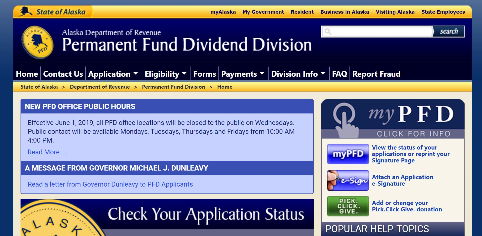 screenshot of PFD website