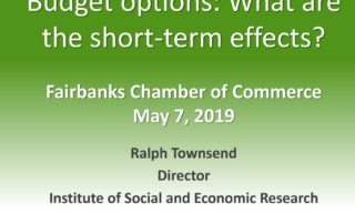 title slide from Ralph Townsend's presentation, Budget Options: What are the short-term effects?