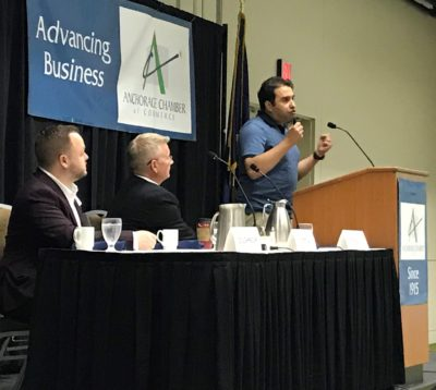 Mouhcine presents at Make It Monday for Anchorage Chamber of Commerce