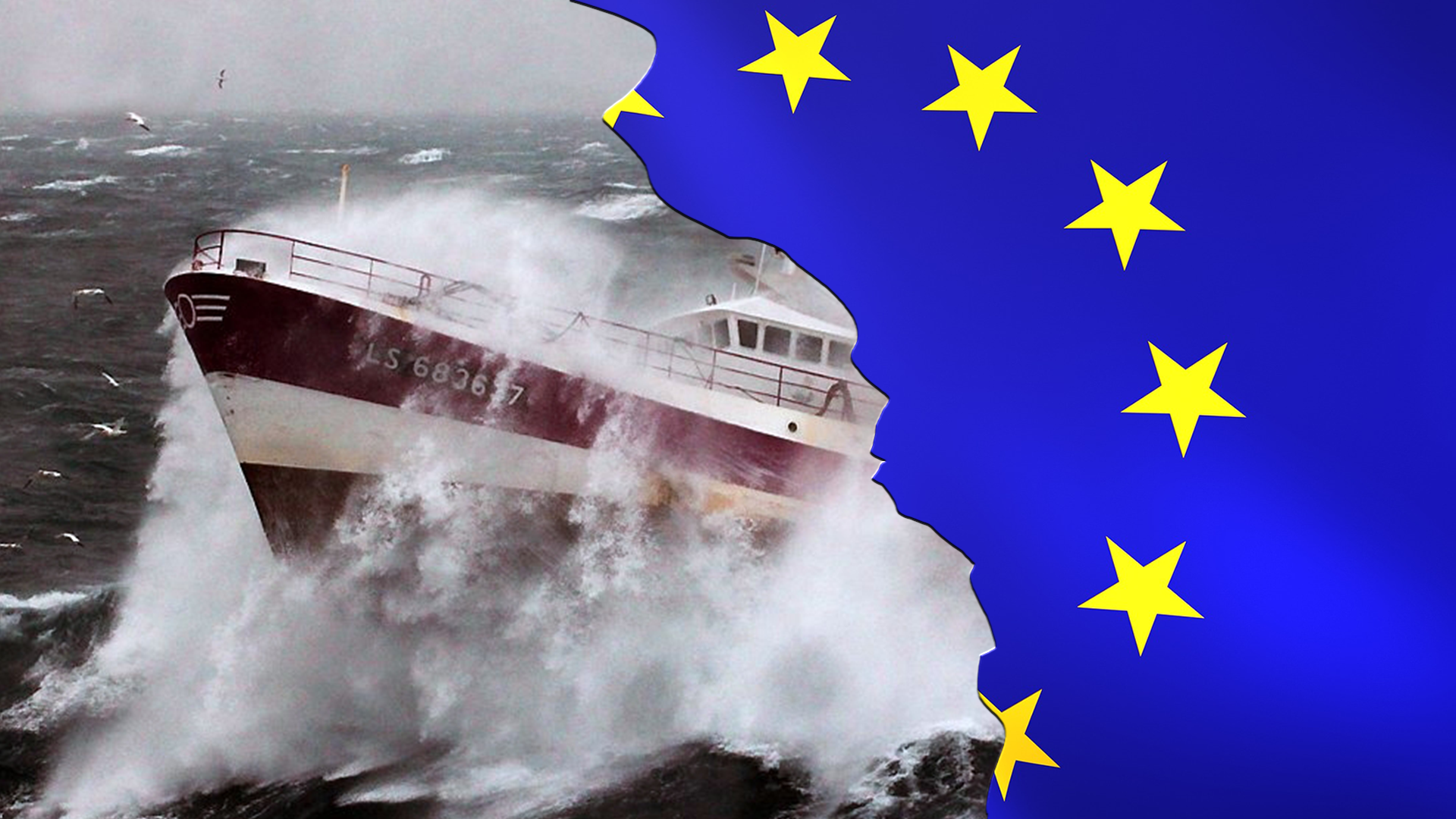 European Union flag super imposed, broken on top of a fishing boat in rough water