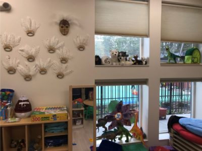 early childhood facility with native artwork on the wall and 2 windows