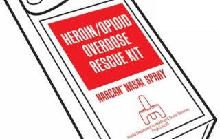 drawing of a Narcan nasal spray rescue kit