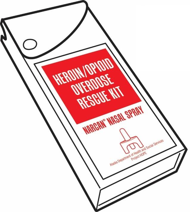 drawing of a Narcan nasal spray rescue kit